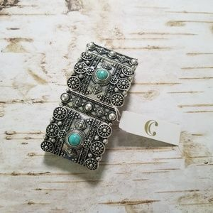 Charming Charlie Silver & Turquoise bracelet nwt
